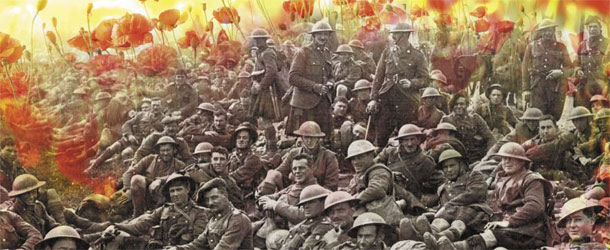 First World War soldiers with a background of poppies